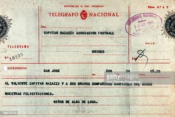 Football 1930 World Cup Uruguay South America A telegram from Uruguay Captain Jose Nasazzi congratulating the team on their World Cup Final victory