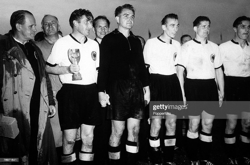 Football, 1954 World Cup Finals, Berne, Switzerland,5th July 1954, West Germany 3 v Hungary 2, West Germany captain Fritz Walter with the Jules Rimet trophy and the team alongside
