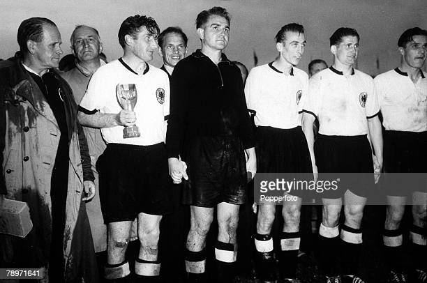 Football 1954 World Cup Finals Berne Switzerland5th July 1954 West Germany 3 v Hungary 2 West Germany captain Fritz Walter with the Jules Rimet...