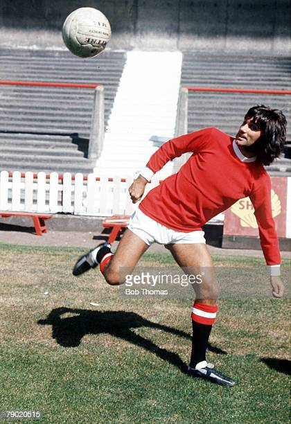 Football 1960's Manchester United star George Best practicing his ball control skills during a training session