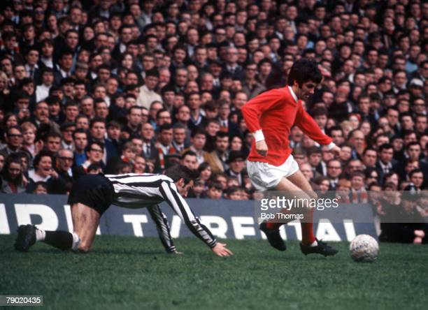 Football 1960's Manchester United's George Best on the ball during the match with Newcastle United