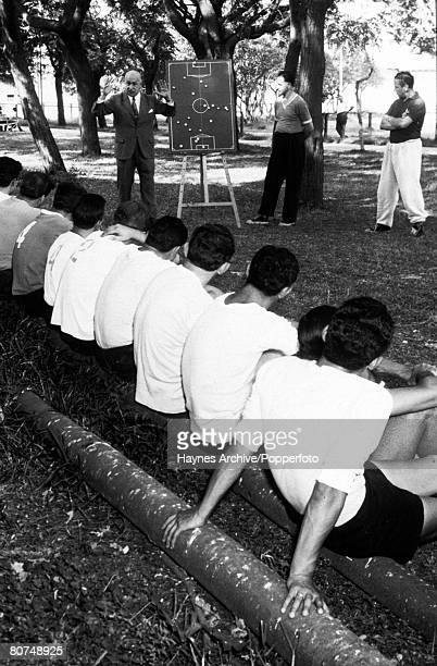 Football 1962 World Cup Finals Chile South America Argentina's World Cup squad listen to coach Alvarez outline strategy on a blackboard