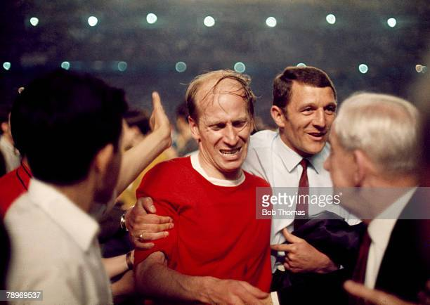 Football 1968 European Cup Semi Final Second Leg Santiago Bernebeu Stadium Spain Real Madrid 3 v Manchester United 3 United's Bobby Charlton is...