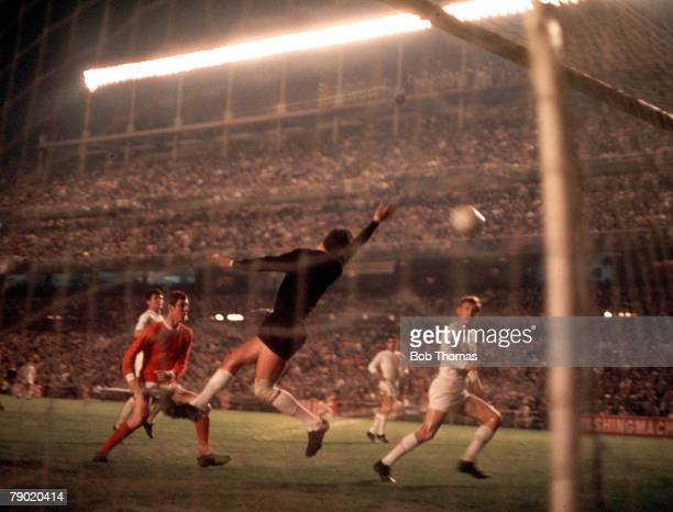 Football 1968 European Cup Semi Final Second Leg Santiago Bernebeu Stadium Spain Real Madrid 3 v Manchester United 3 Action during the match showing...