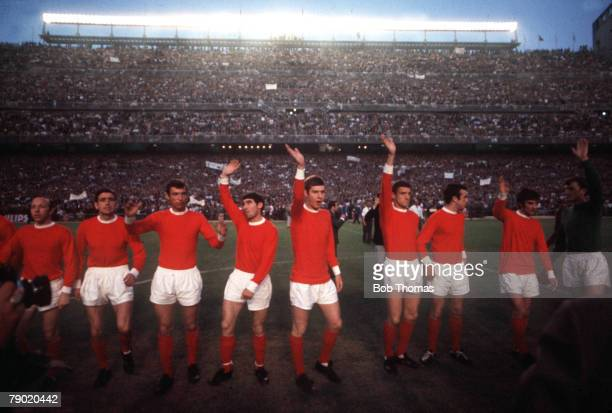 Football 1968 European Cup Semi Final Second Leg Santiago Bernebeu Stadium Spain Real Madrid 3 v Manchester United 3 United players wave to the crowd...