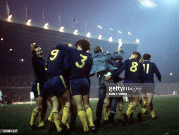 Football 1970 FA Cup Final Replay Old Trafford 29th April Chelsea 2 v Leeds United 1 Chelsea players take part in a group hug as they celebrate a goal
