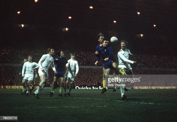Football 1970 FA Cup Final Replay Old Trafford 29th April Chelsea 2 v Leeds United 1 Chelsea captain Ron 'Chopper' Harris heads the ball clear from...