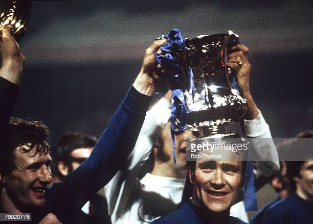 """Football, 1970 FA Cup Final Replay, Old Trafford, 29th April Chelsea 2 v Leeds United 1, Chelsea captain Ron """"Chopper"""" Harris celebrates with the FA..."""