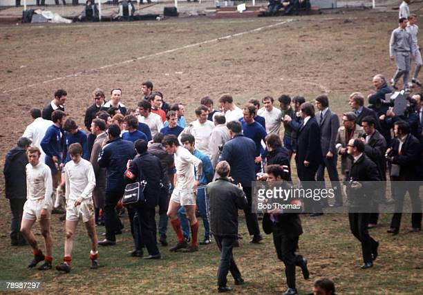 Football 1970 FA Cup Final Wembley 11th April Chelsea 2 v Leeds United 2 Chaotic scenes at the final whistle as the match ends in a draw