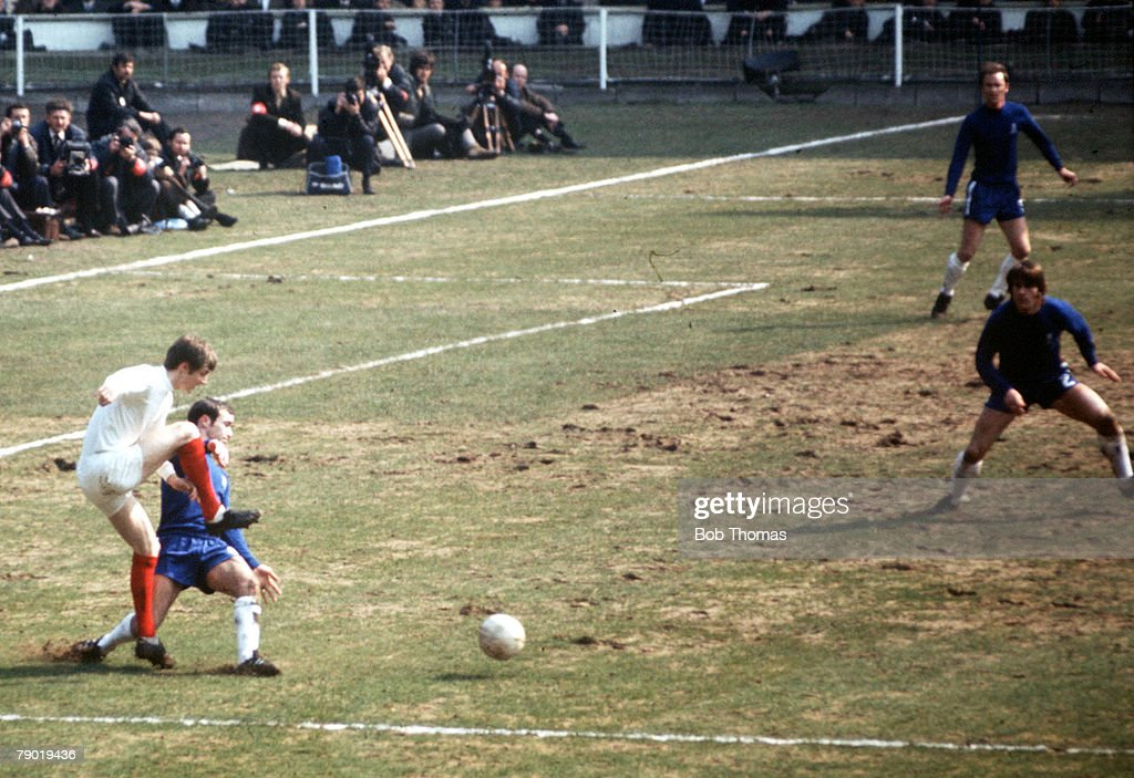 "Football. 1970 FA Cup Final. Wembley. 11th April, 1970. Chelsea 2 v Leeds United 2. Action during the match in the Chelsea penalty area showing Ron ""Chopper"" Harris tackling Leeds' Allan Clarke and the terrible conditions of the pitch at Wembley. : News Photo"