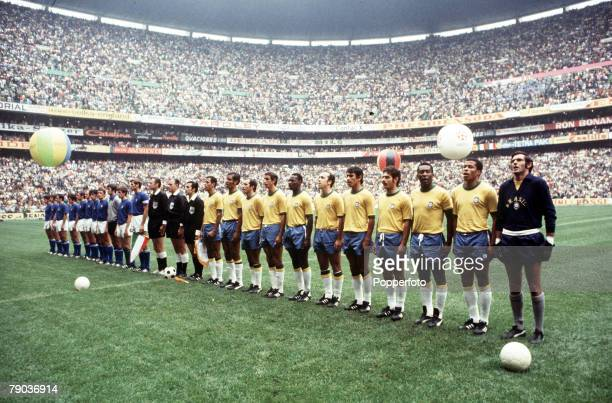Football 1970 World Cup Final Mexico City Mexico 21st June Brazil 4 v Italy 1 The two teams line up in the Azteca Stadium before the match