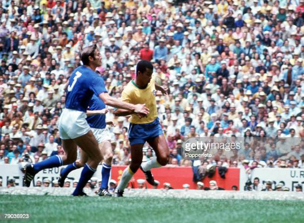 Football, 1970 World Cup Final, Mexico City, Mexico, 21st June Brazil 4 v Italy 1, Brazil's Jairzinho is challenged for the ball by Italian captain...
