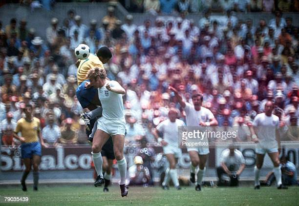 Football 1970 World Cup Finals Guadalajara Mexico 7th June England 0 v Brazil 1 England captain Bobby Moore challenges Brazil's Jairzinho for the...