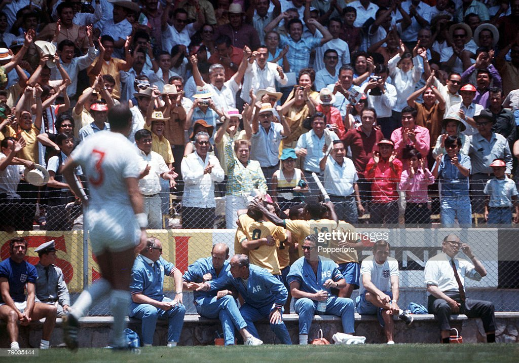 Football. 1970 World Cup Finals. Guadalajara, Mexico, 7th June, 1970. England 0 v Brazil 1. Members of the Brazilian embrace as they celebrate the only goal by Jairzinho. : News Photo