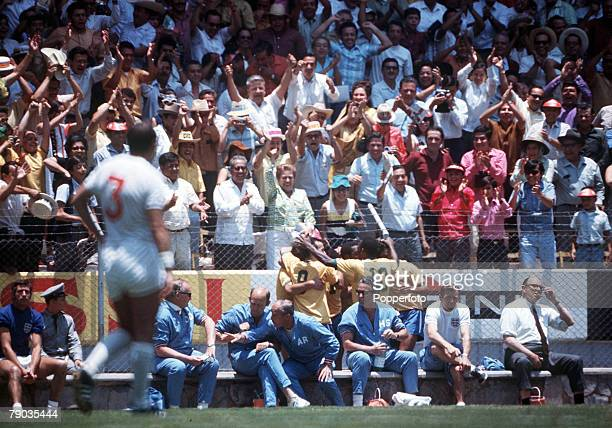 Football 1970 World Cup Finals Guadalajara Mexico 7th June England 0 v Brazil 1 Members of the Brazilian embrace as they celebrate the only goal by...