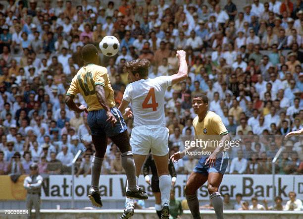 Football 1970 World Cup Finals Guadalajara Mexico 7th June England 0 v Brazil 1 Brazil's Pele jumps up for the ball with an England defender watched...