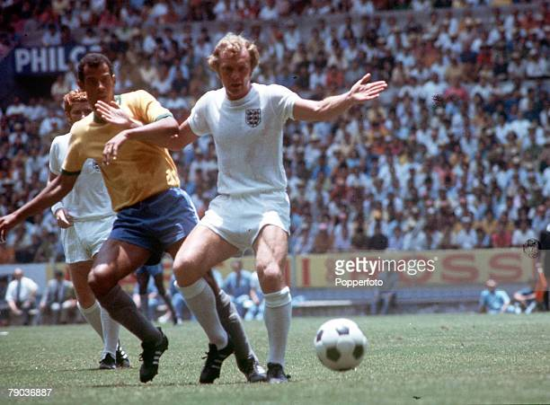 Football 1970 World Cup Finals Guadalajara Mexico 7th June England 0 v Brazil 1 England captain Bobby Moore and Brazilian captain Carlos Alberto...