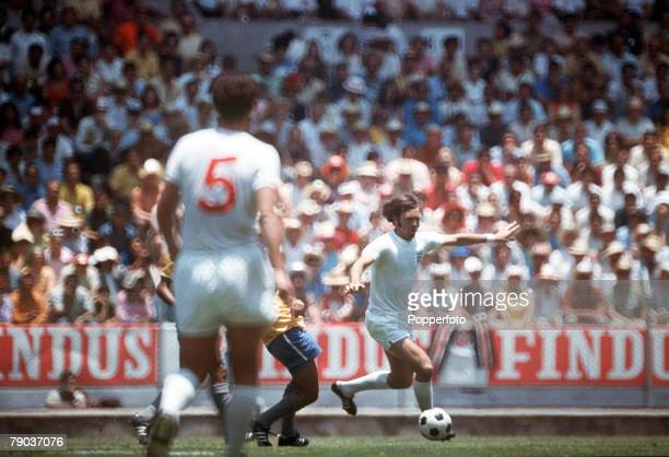 Football 1970 World Cup Finals Guadalajara Mexico 7th June England 0 v Brazil 1 England's Jeff Astle on the ball