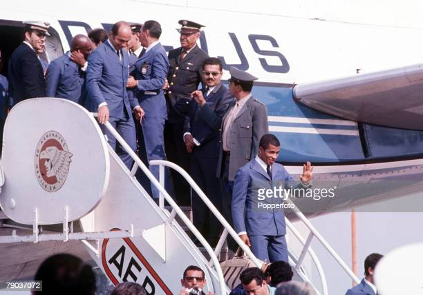 Football 1970 World Cup Finals Mexico Brazilian footballer Jairzinho waves as the Brazilian team descend from their aeroplane following their arrival...