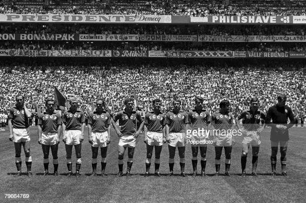 Football 1970 World Cup Mexico City Mexico 31st May 1970 Mexico 0 v USSR 0 The Russian team line up prior to the opening match of the tournament at...