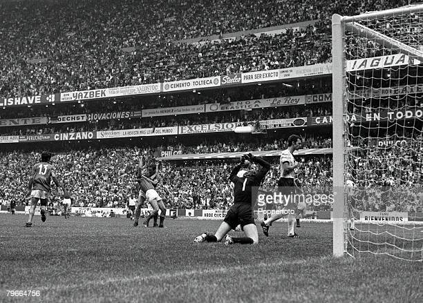 Football 1970 World Cup Semi Final Azteca Stadium Mexico 17th June 1970 Italy 4 v West Germany 3 West Germanys goalkeeper Sepp Maier is beaten by...