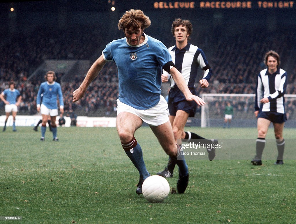 Football. 1970's. Manchester City+s Rodney MArsh in action against West Bromwich Albion (WBA).