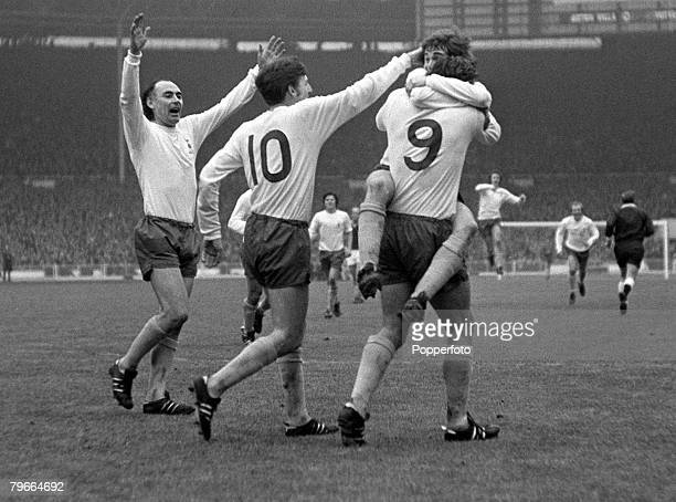 Football 1971 League Cup Final Wembley 27th February 1971 Tottenham Hotspur 2 v Aston Villa 0 Spurs Martin Chivers is mobbed by teammates Alan...