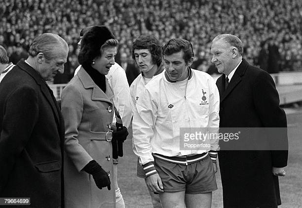 Football 1971 League Cup Final Wembley 27th February Tottenham Hotspur 2 v Aston Villa 0 Princess Alexandra with Spurs captain Alan Mullery and...