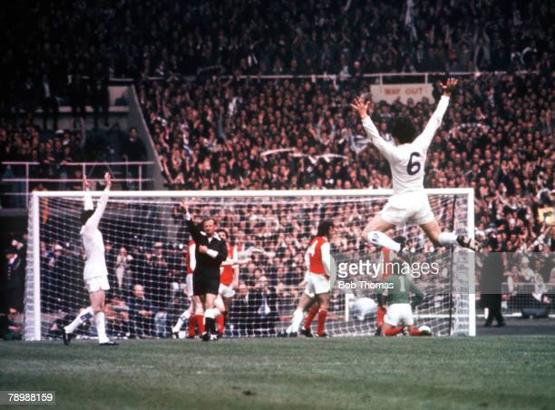Football 1972 FA Cup Final Wembley Stadium 6th May Leeds United 1 v Arsenal 0 Leeds United's Norman Hunter leaps into the air to celebrate as...