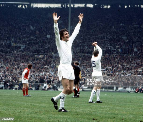Football 1972 FA Cup Final Wembley Stadium 6th May Leeds United 1 v Arsenal 0 Leeds United's Norman Hunter raises his arms at the final whistle as he...