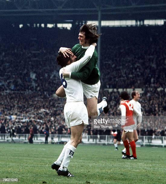 Football 1972 FA Cup Final Wembley Stadium 6th May Leeds United 1 v Arsenal 0 Leeds United's Norman Hunter and goalkeeper David Harvey jump for joy...