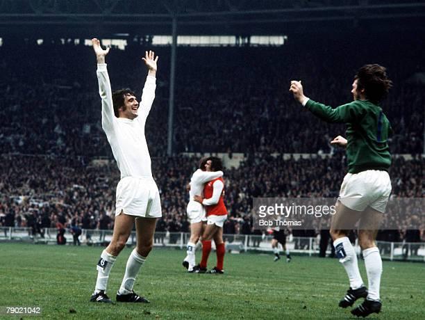 Football 1972 FA Cup Final Wembley Stadium 6th May Leeds United 1 v Arsenal 0 Leeds United's Norman Hunter and goalkeeper David Harvey celebrate...