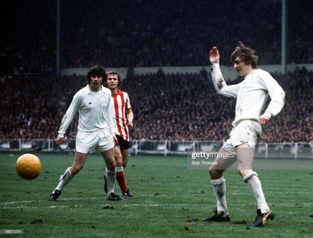 Football, 1973 FA Cup Final, Wembley Stadium, 5th May, 1973, Sunderland 1 v Leeds United 0, Leeds United's Allan Clarke plays the ball