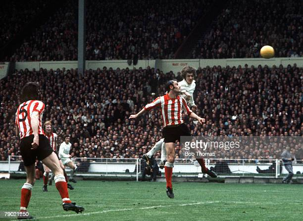 Football 1973 FA Cup Final Wembley Stadium 5th May Sunderland 1 v Leeds United 0 Leeds United's Allan Clarke jumps up for the ball with a Sunderland...
