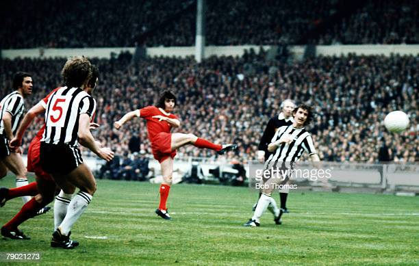 Football 1974 FA Cup Final Wembley Stadium 4th May Liverpool 3 v Newcastle United 0 Liverpools Kevin Keegan shoots past Newcastle defenders to score...