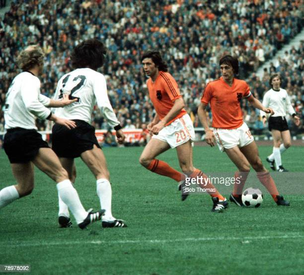 Football 1974 World Cup Final Olympic Stadium Munich Germany 7th July 1974 West Germany 2 v Holland 1 Holland's Johan Cruyff on the ball with Wim...