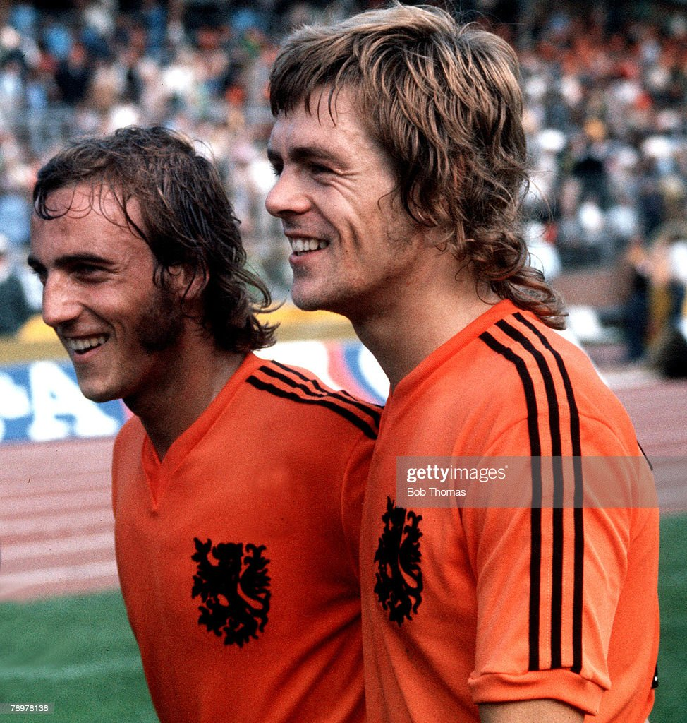 Football. 1974 World Cup Finals. 15th June 1974. Hannover, Germany. Holland 2 v Uruguay 0. Holland's stars Johan Neeskens (left) and Johnny Rep, the scorer of both goals, after the game. : News Photo