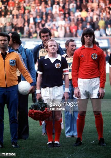 Football 1974 World Cup Finals Dortmund Germany14th June 1974 Scotland 2 v Zaire 0 Scotland's Billy Bremner and goalkeeper David Harvey before the...