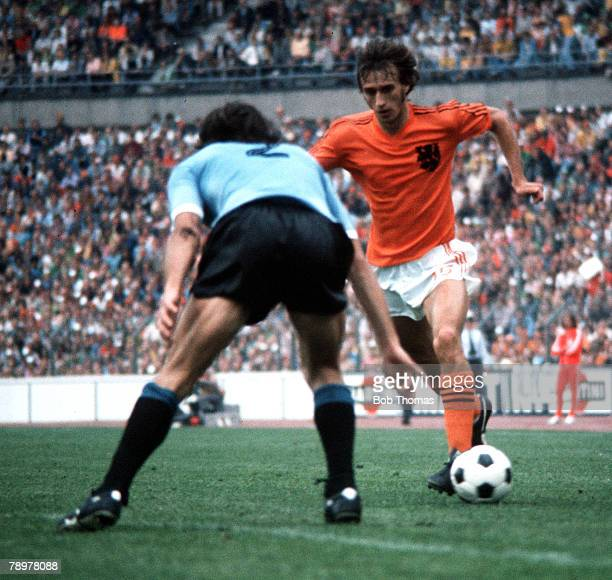 Football 1974 World Cup Finals Hannover Germany15th June 1974 Holland 2 v Uruguay 0 Holland's Rob Rensenbrink on the attack