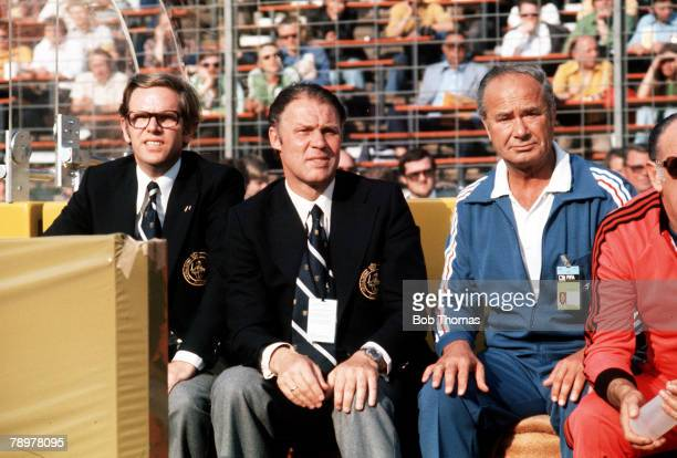 Football 1974 World Cup Finals Hannover Germany15th June 1974 Holland 2 v Uruguay 0 Holland coach Rinus Michels and trainer Fadrhonc
