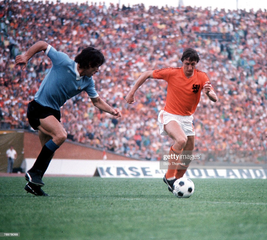 Football. 1974 World Cup Finals. Hannover, Germany.15th June 1974. Holland 2 v Uruguay 0. Holland's Johan Cruyff on the attack. : News Photo