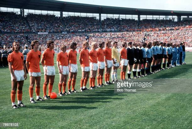 Football 1974 World Cup Finals Hannover Germany15th June 1974 Holland 2 v Uruguay 0 Holland and Uruguay line up before the game