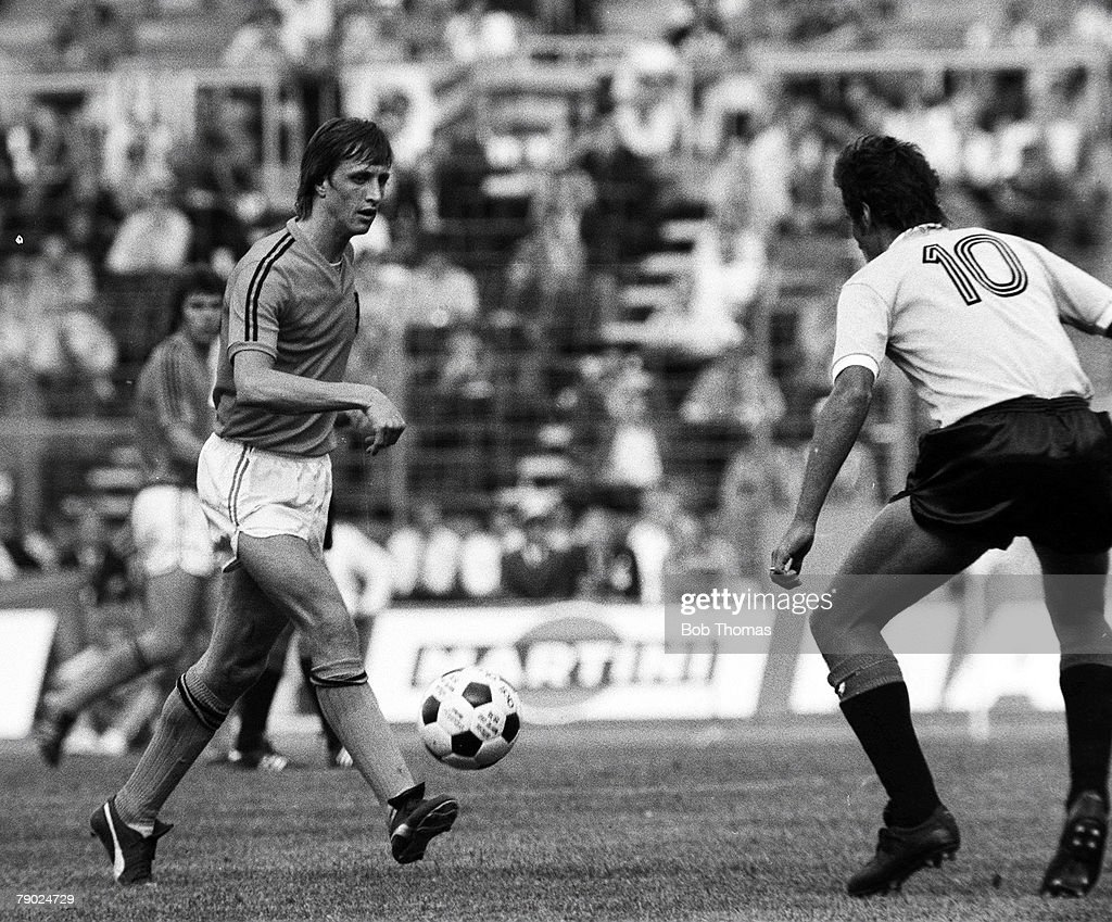 Football: 1974 World Cup Finals. Hannover, West Germany. 15th June, 1974. Holland 2 v Uruguay 0. Holland's Johan Cruyff on the ball. : News Photo