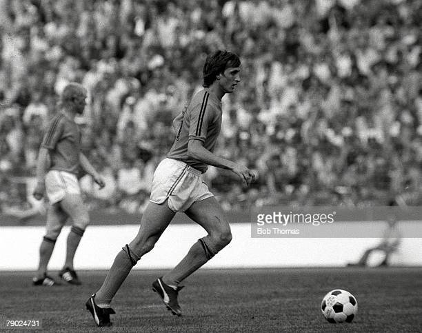 1974 World Cup Finals Hannover West Germany 15th June Holland 2 v Uruguay 0 Holland's Johan Cruyff on the ball