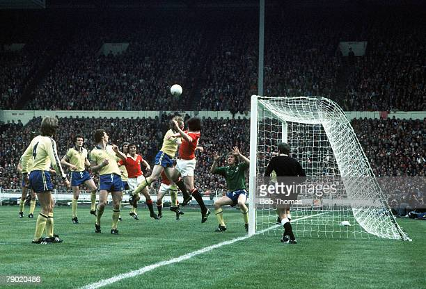 Football 1976 FA Cup Final Wembley Stadium 1st May Southampton 1 v Manchester United 0 Southampton defenders try to stop a Manchester United attack