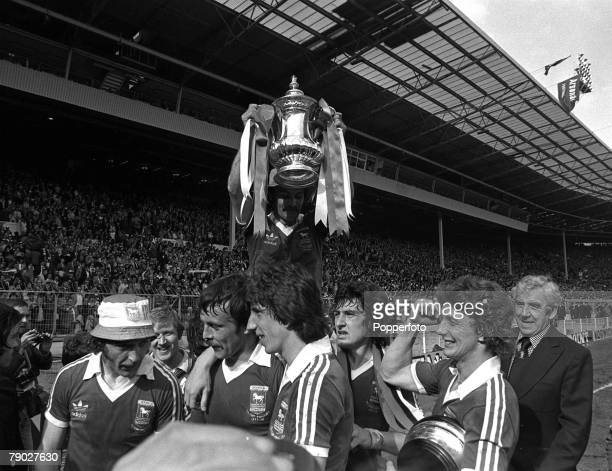 Football 1978 FA Cup Final Wembley 6th May Ipswich Town 1 v Arsenal 0 Ipswich captain Mick Mills sits on the shoulders of his teammates as he holds...