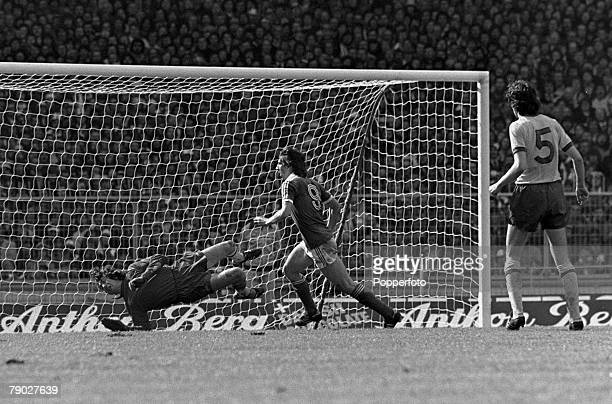 Football 1978 FA Cup Final Wembley 6th May Ipswich Town 1 v Arsenal 0 Arsenal goalkeeper Pat Jennings dives across his goal but fails to stop a shot...