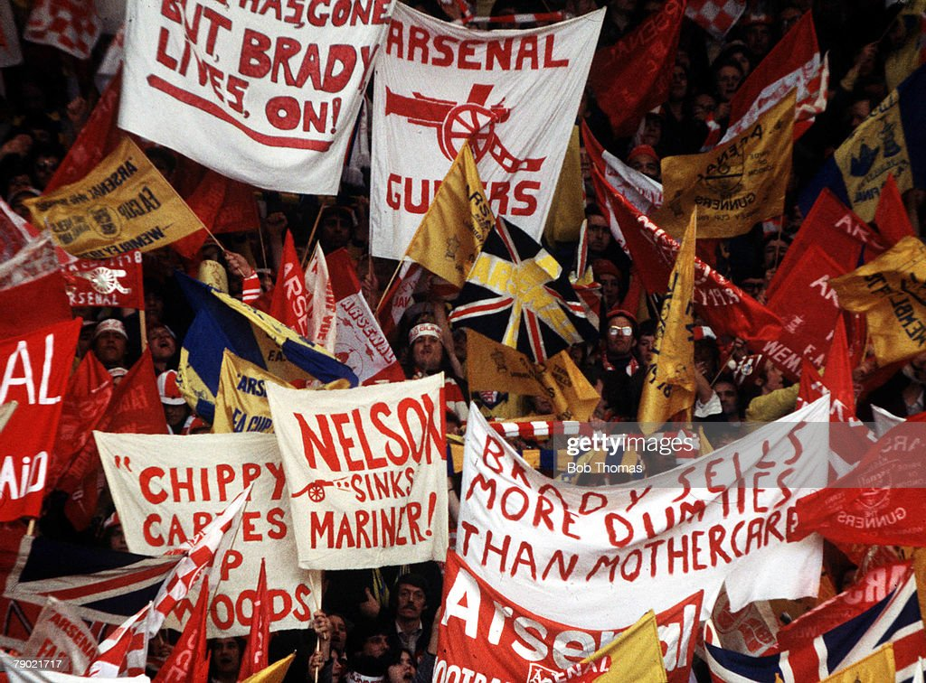 Football. 1978 FA Cup Final. Wembley. Ipswich Town 1 v Arsenal 0. 6th May, 1978. Arsenal fans cheering on their team with amusing banners and masses of flags. : News Photo