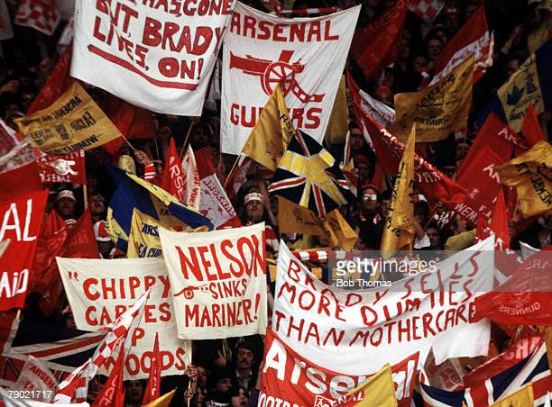 Football 1978 FA Cup Final Wembley Ipswich Town 1 v Arsenal 0 6th May Arsenal fans cheering on their team with amusing banners and masses of flags