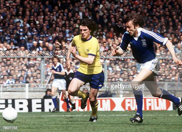 Football 1978 FA Cup Final Wembley Ipswich Town 1 v Arsenal 0 6th May Arsenal's Frank Stapleton chases after the ball with Ipswich Town's Allan Hunter